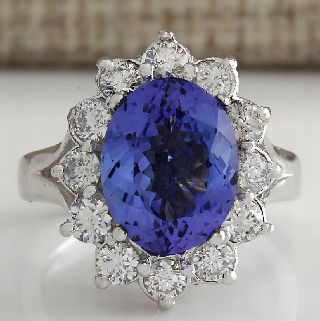 5.03CTW Natural Tanzanite Diamond Ring 14K Solid White