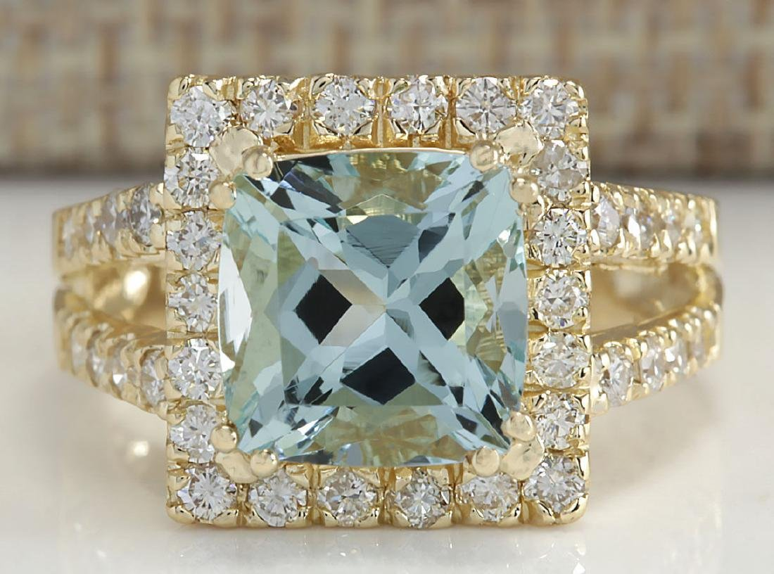 4.13CTW Natural Aquamarine And Diamond Ring In 14K