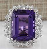 1512CTW Natural Amethyst And Diamond Ring In 14K Solid