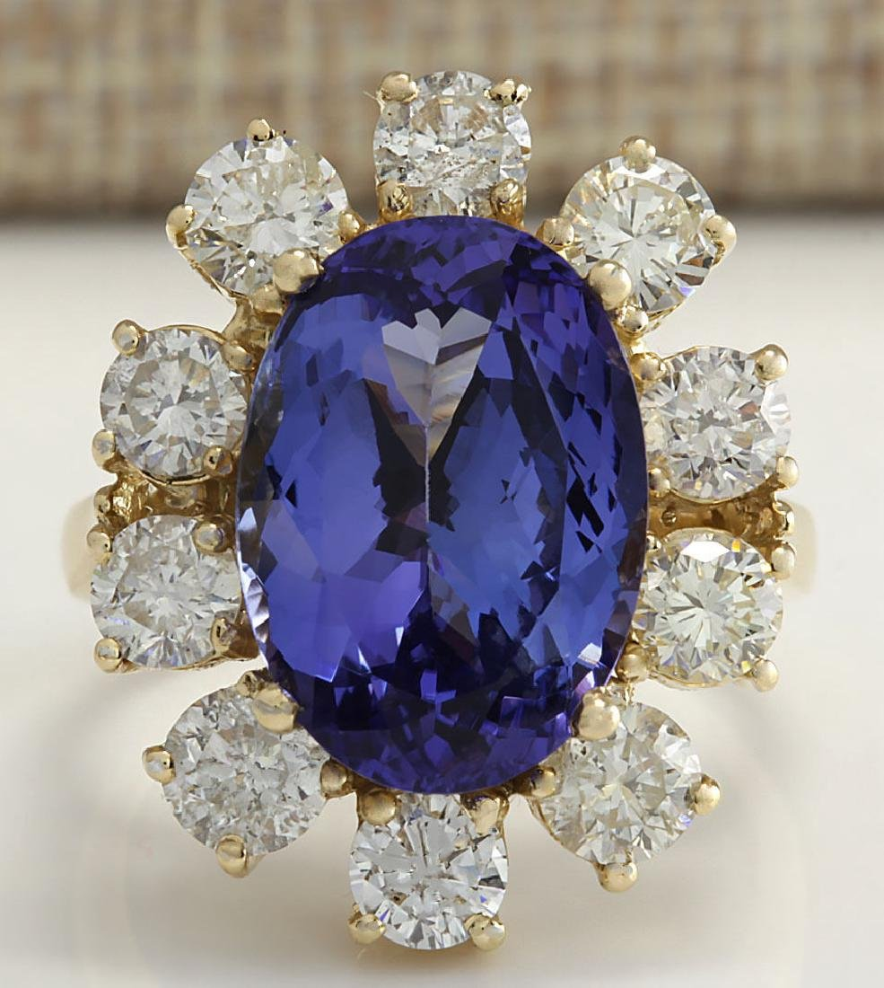 10.17CTW Natural Blue Tanzanite And Diamond Ring In 14K