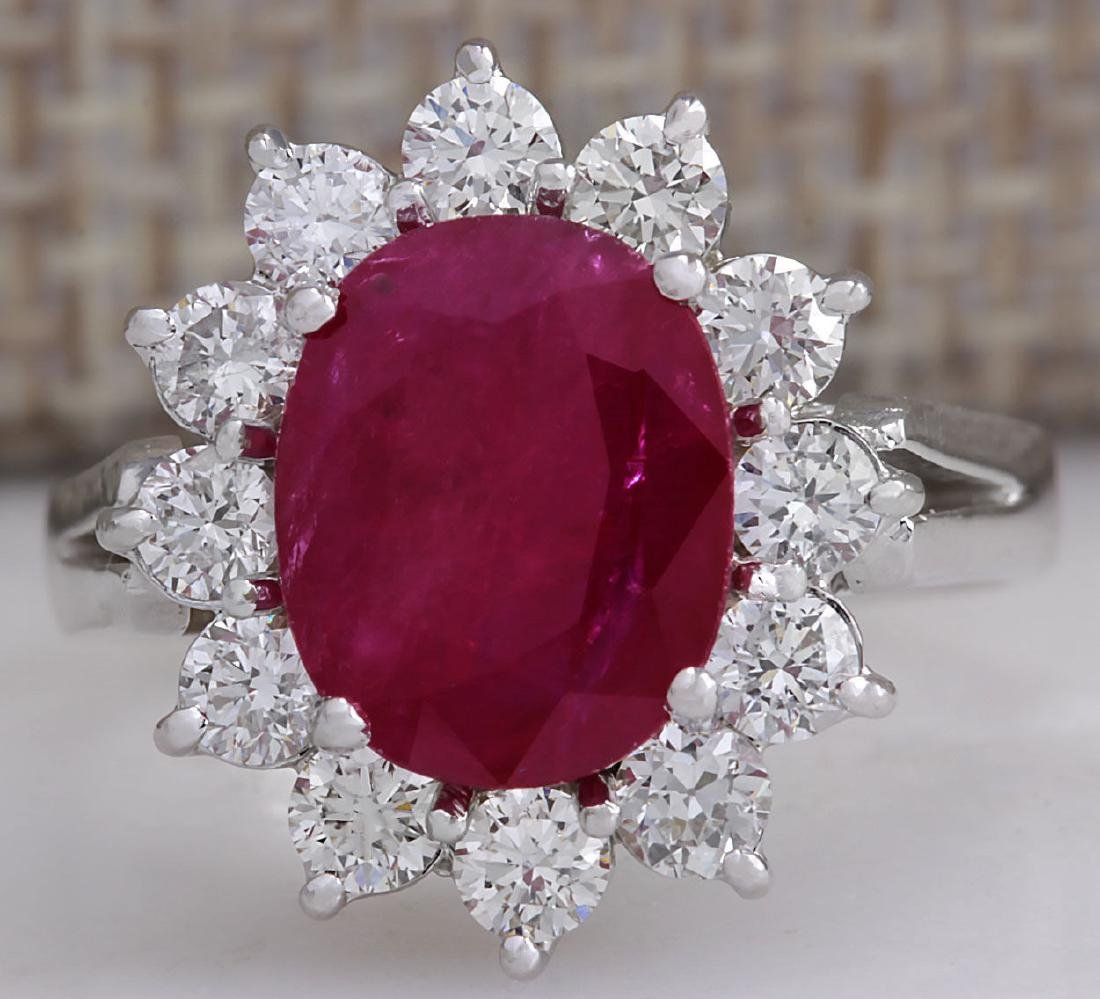 4.03CTW Natural Red Ruby Diamond Ring 14K Solid White