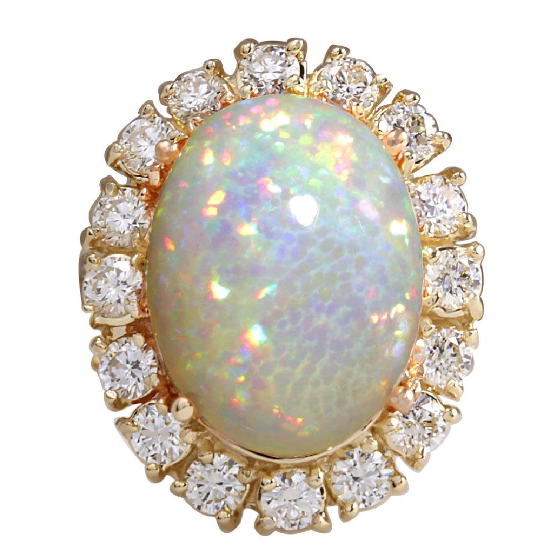 8.03CTW Natural Ethiopian Opal And Diamond Ring In 14K