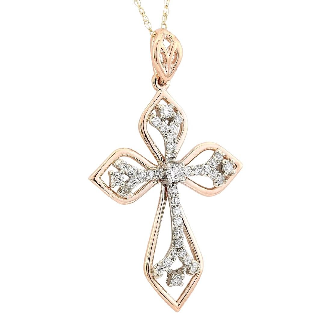 .70 CTW Natural Diamond Pendant In 14k Solid Rose Gold - 2