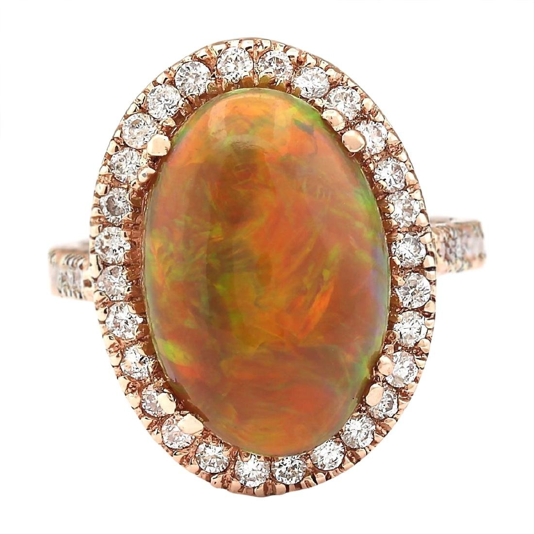 6.32 CTW Natural Opal And Diamond Ring In 14k Rose Gold