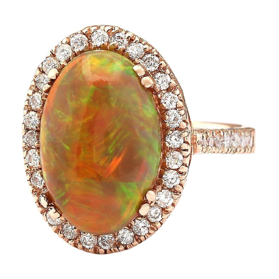 6.32 CTW Natural Opal And Diamond Ring In 14k Rose Gold - 2
