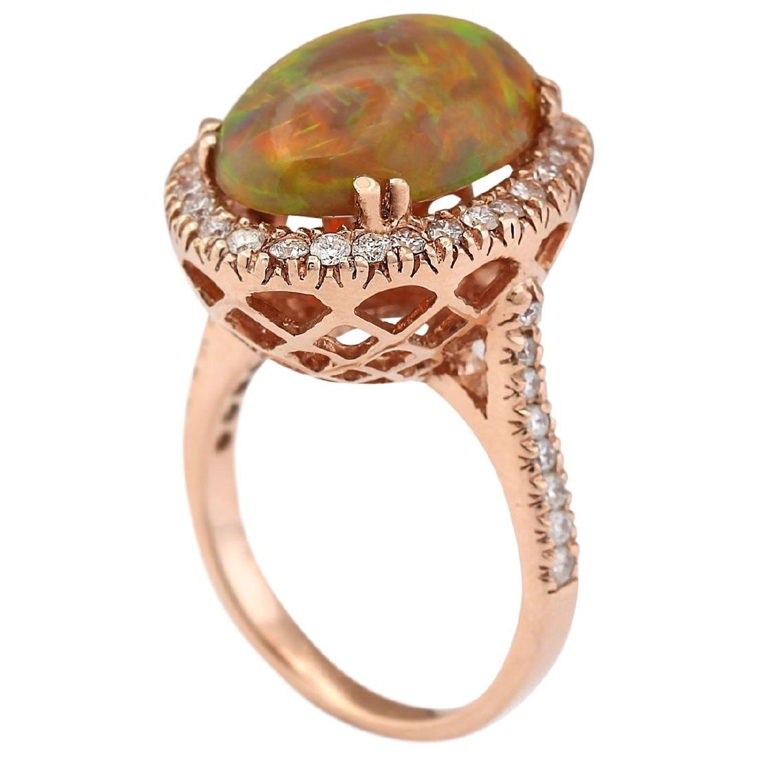 6.32 CTW Natural Opal And Diamond Ring In 14k Rose Gold - 3