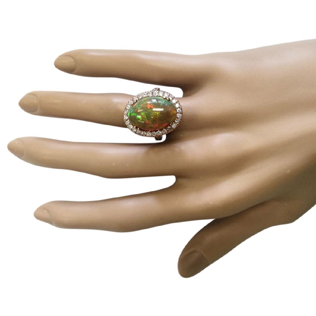 6.32 CTW Natural Opal And Diamond Ring In 14k Rose Gold - 4