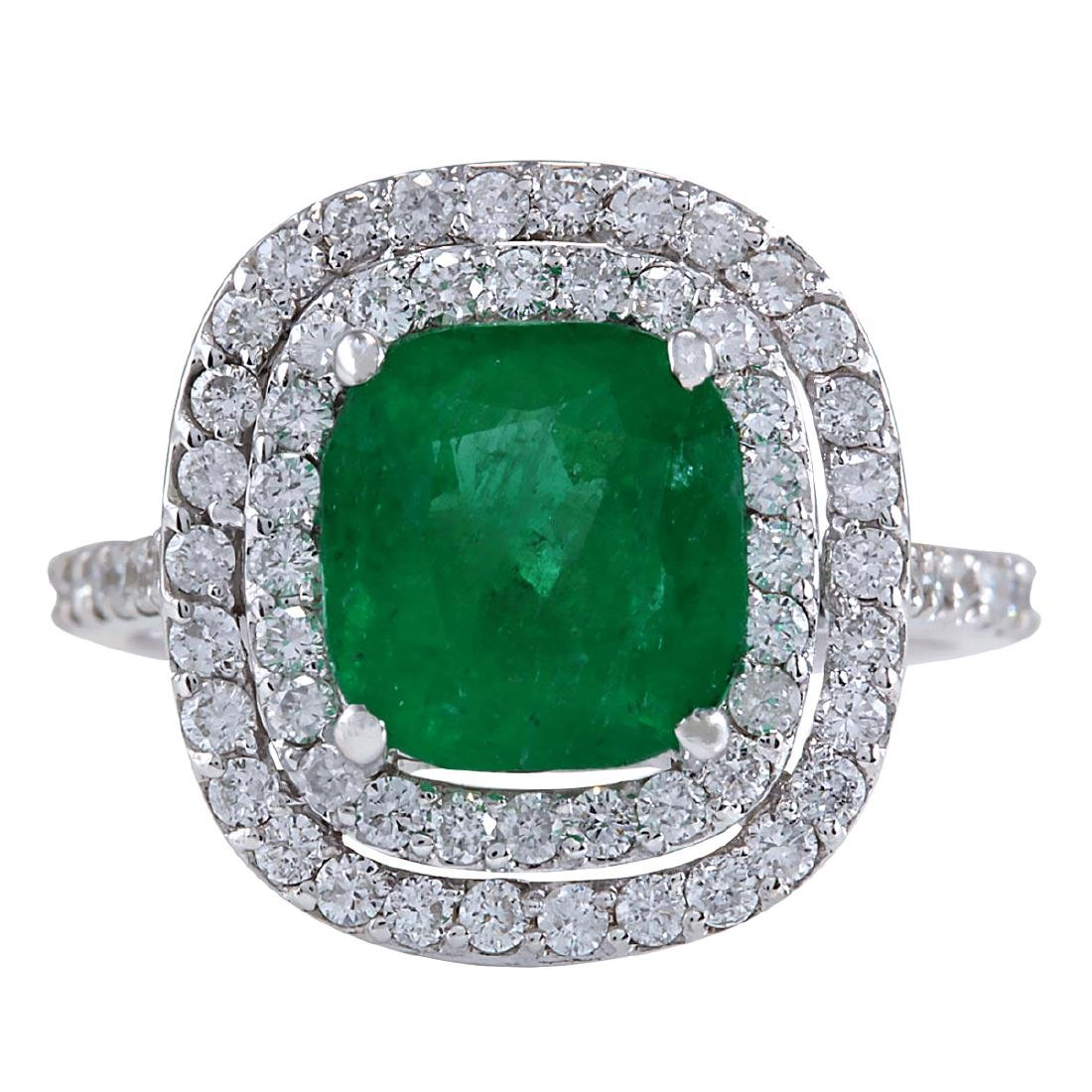 3.74CTW Natural Emerald And Diamond Ring In 14K White