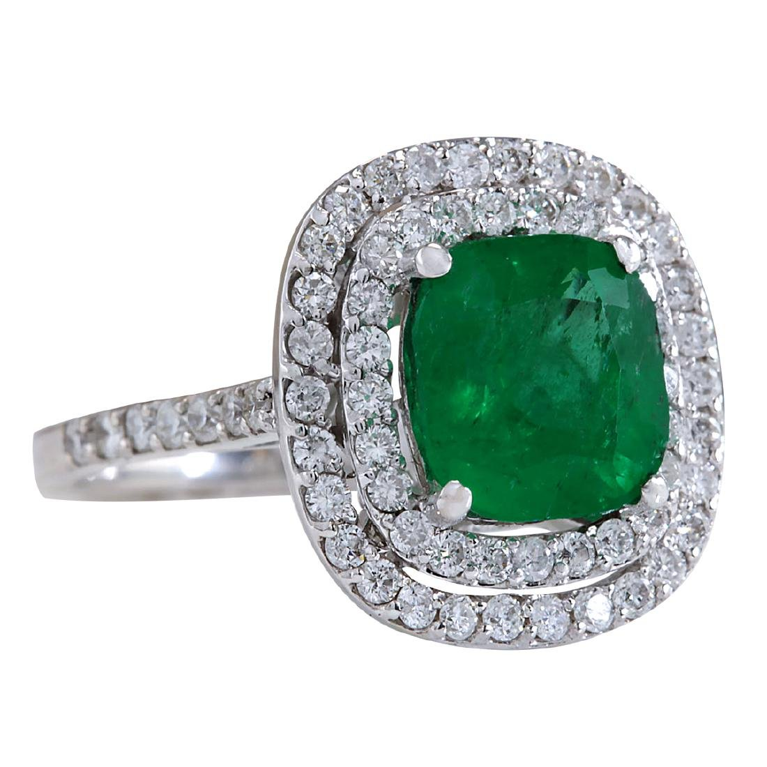 3.74CTW Natural Emerald And Diamond Ring In 14K White - 2