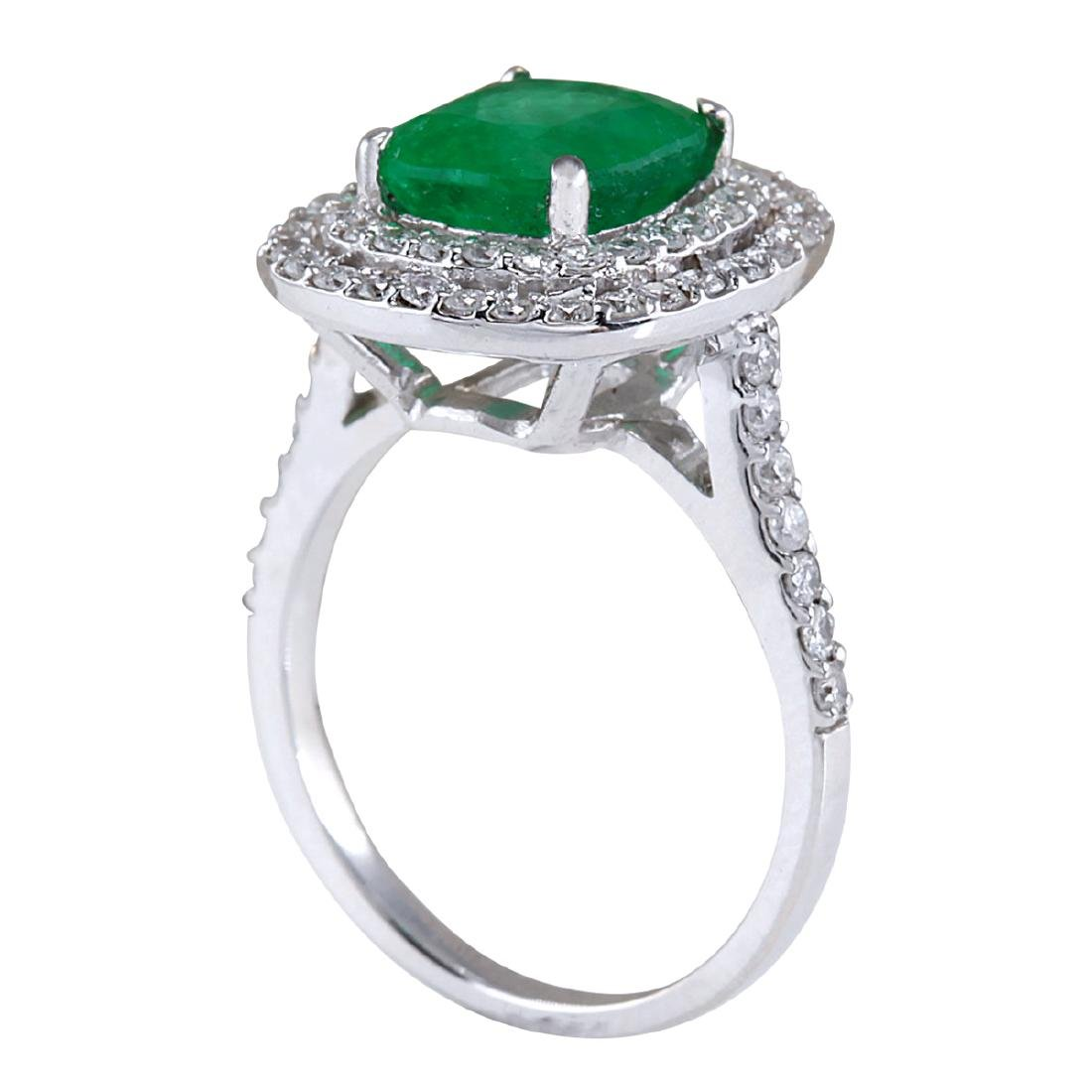 3.74CTW Natural Emerald And Diamond Ring In 14K White - 3