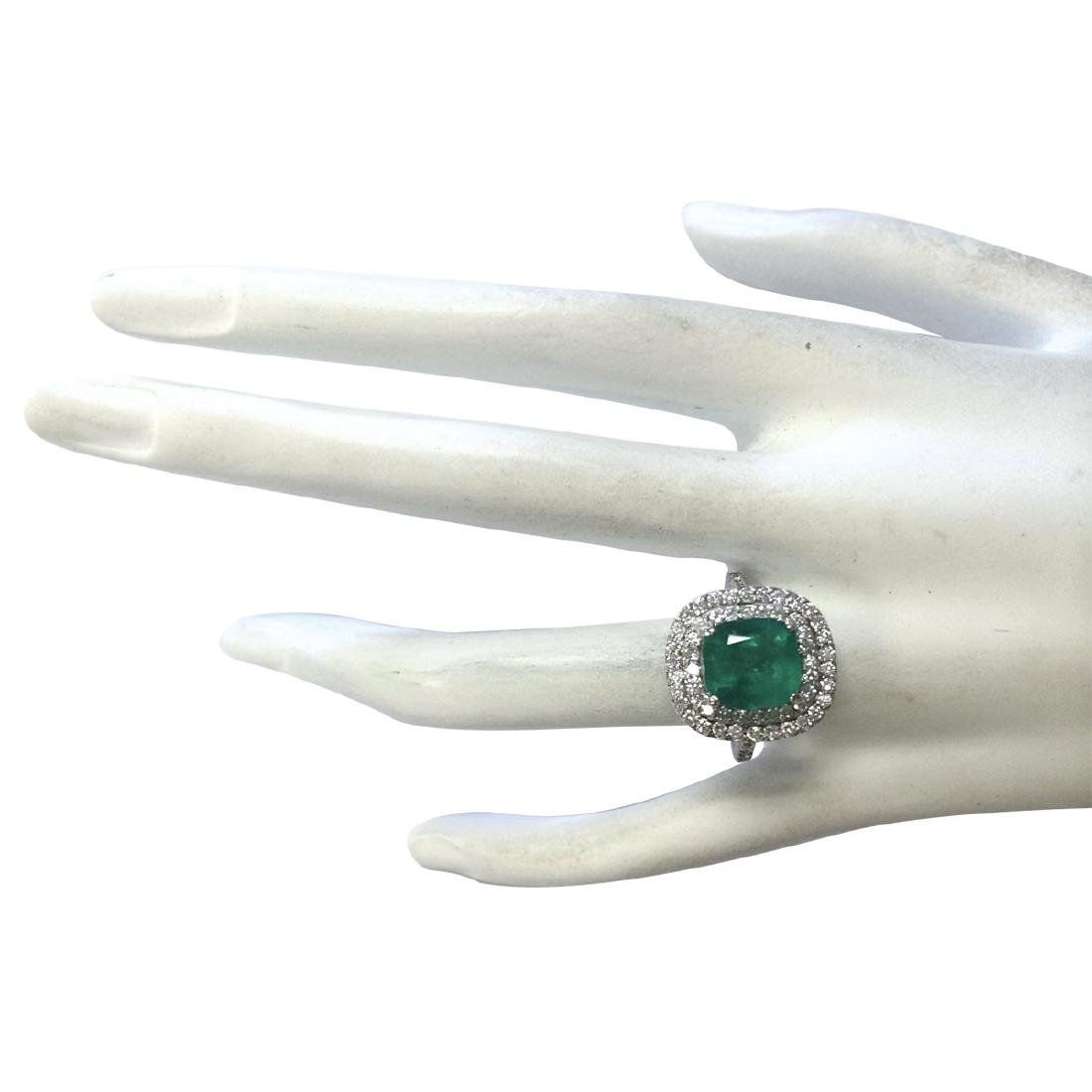3.74CTW Natural Emerald And Diamond Ring In 14K White - 4