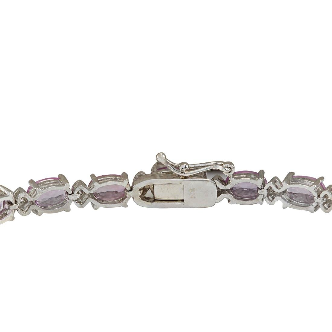14.10CTW Natural Pink Sapphire And Diamond Bracelet In - 2