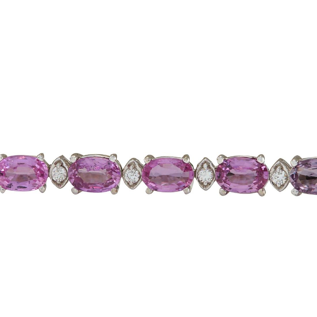 14.10CTW Natural Pink Sapphire And Diamond Bracelet In - 3