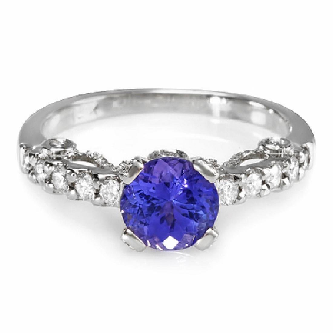 1.52 Carat Natural Tanzanite 14K Solid White Gold