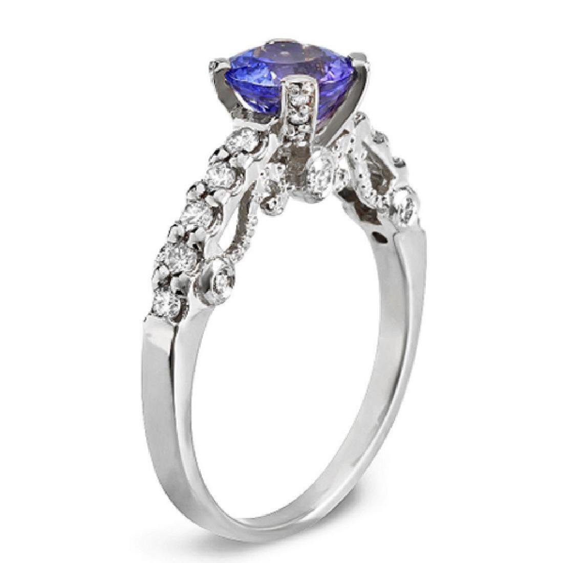 1.52 Carat Natural Tanzanite 14K Solid White Gold - 2