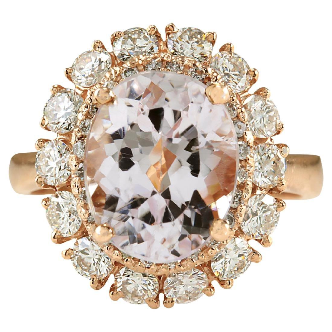 5.66CTW Natural Morganite And Diamond Ring 14K Solid