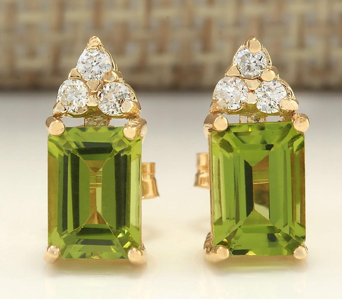 2.75 CTW Natural Peridot And Diamond Earrings 14k Solid
