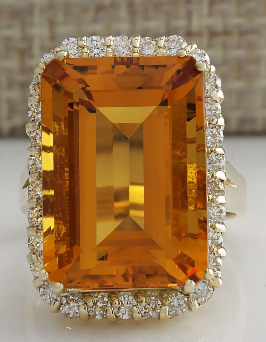 16.61CTW Natural Citrine And Diamond Ring 14K Solid