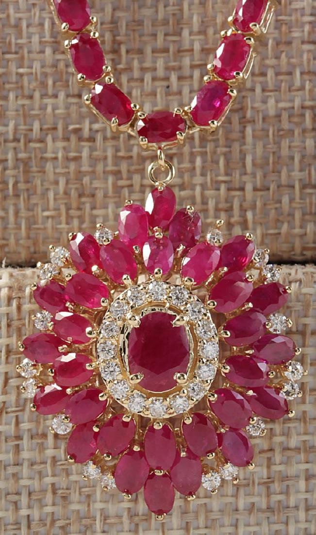 35.62CTW Natural African Ruby And Diamond Necklace In