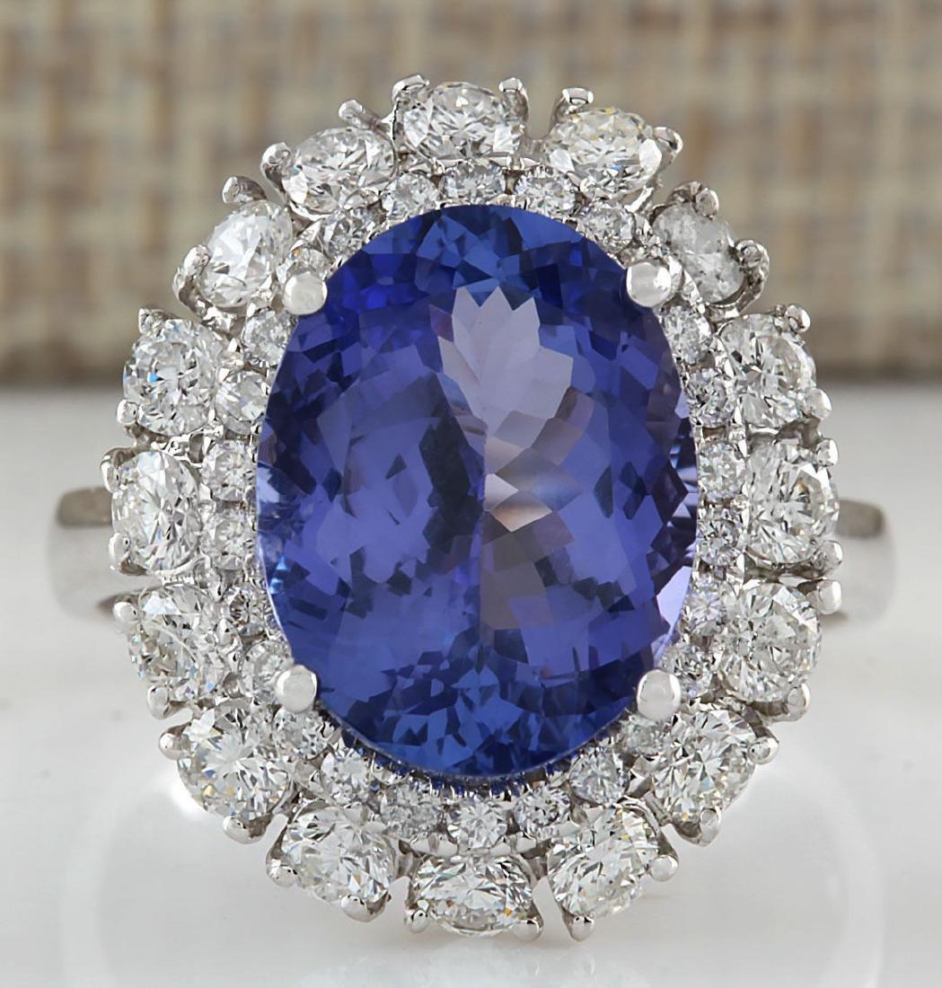 6.52CTW Natural Blue Tanzanite And Diamond Ring 14K