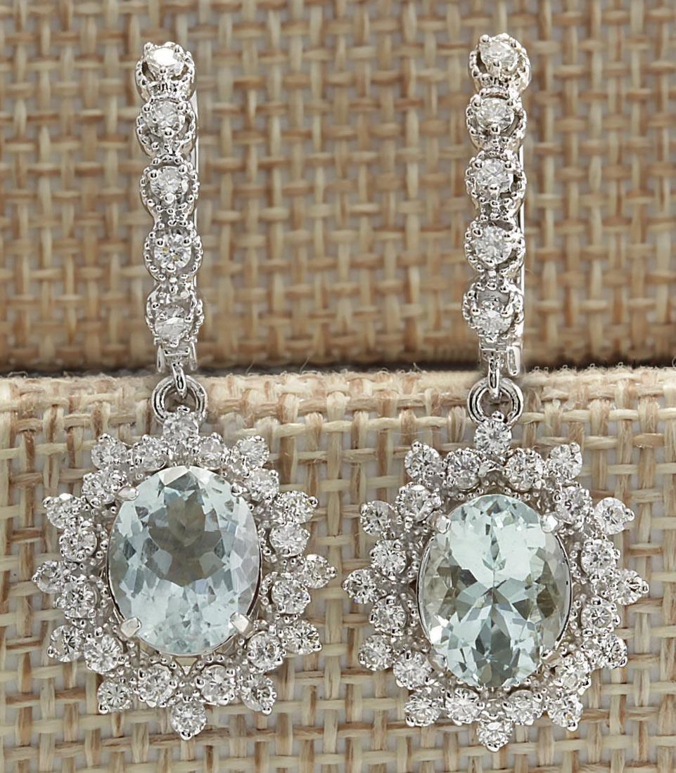 6.40CTW Natural Aquamarine And Diamond Earrings 14K