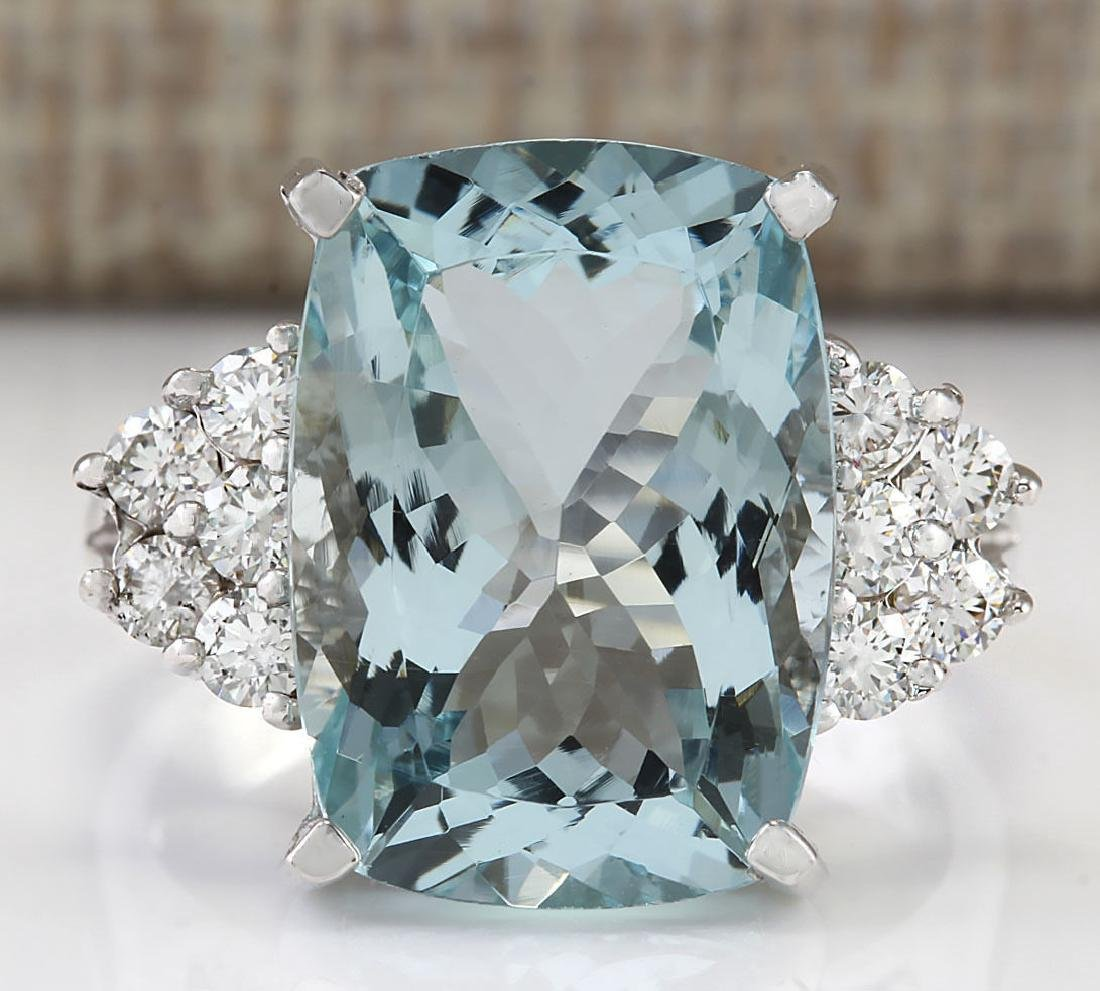 8.13 CTW Natural Aquamarine And Diamond Ring In 14k