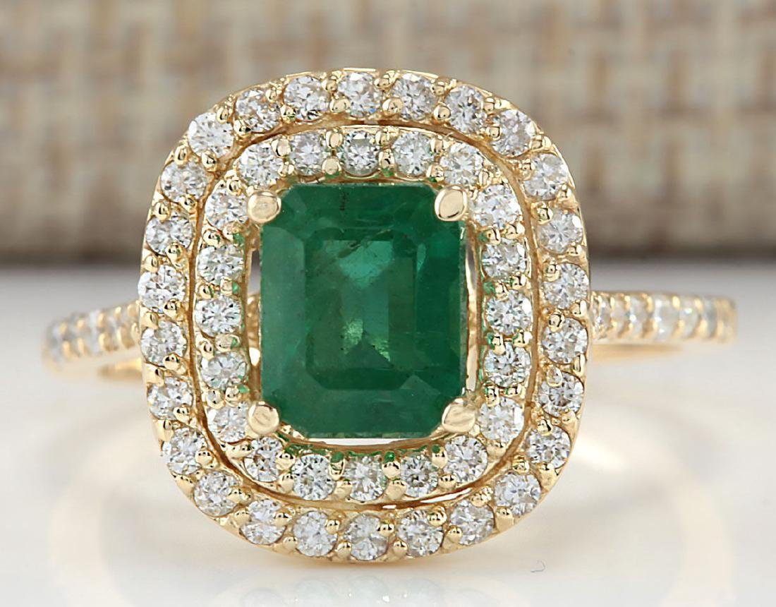 2.33CTW Natural Emerald And Diamond Ring In 14K Yellow
