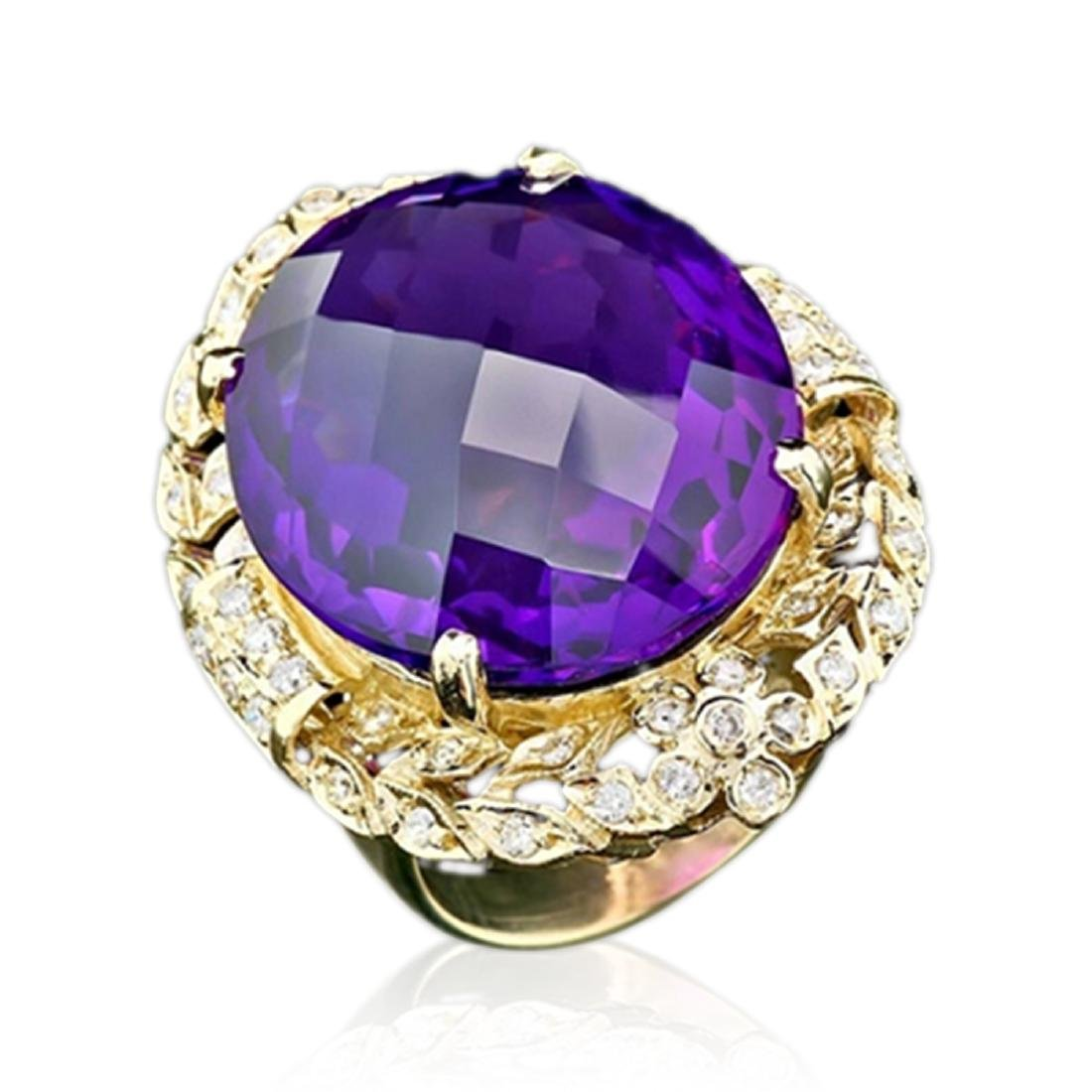 28.60 Carat Natural Amethyst 14K Solid Yellow Gold