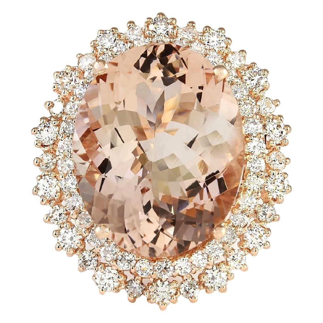 15.56 CTW Natural Morganite And Diamond Ring In 14k