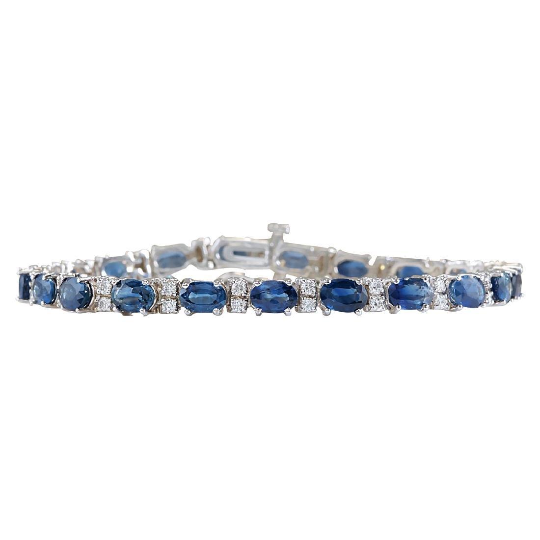 12.80CTW Natural Blue Sapphire Diamond Bracelet 14K