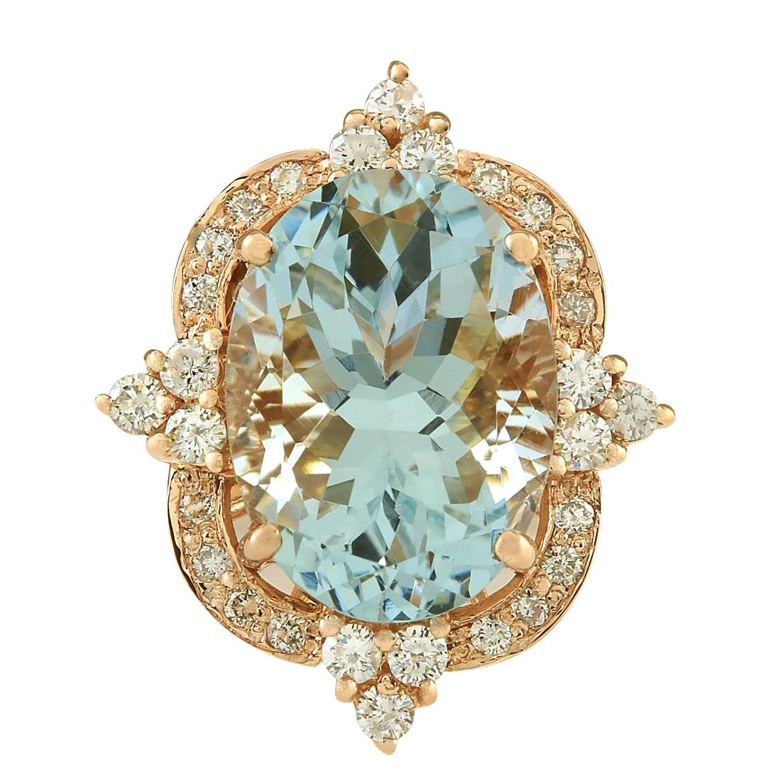 8.27CTW Natural Aquamarine And Diamond Ring In 14K Rose