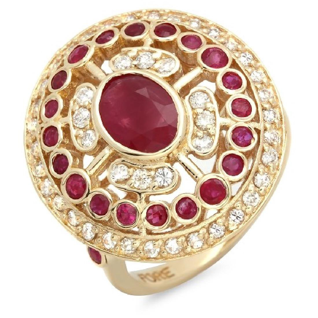 2.60 Carat Natural Ruby 14K Solid Yellow Gold Diamond