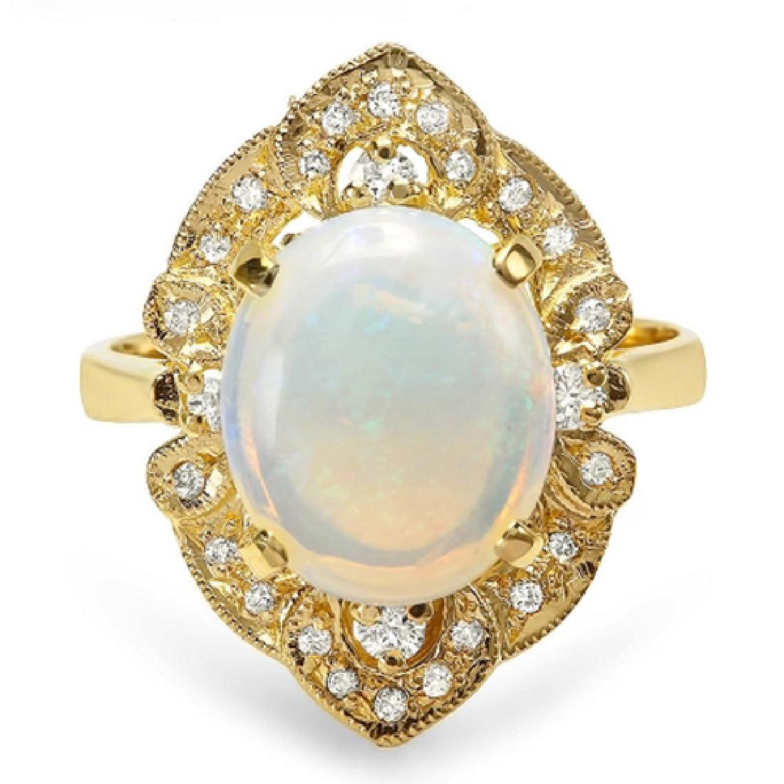 3.15 Carat Natural Opal 14K Solid Yellow Gold Diamond
