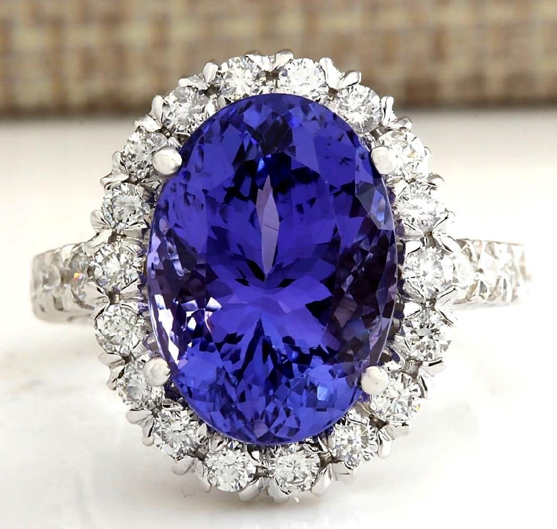 10.66 CTW Natural Blue Tanzanite And Diamond Ring In