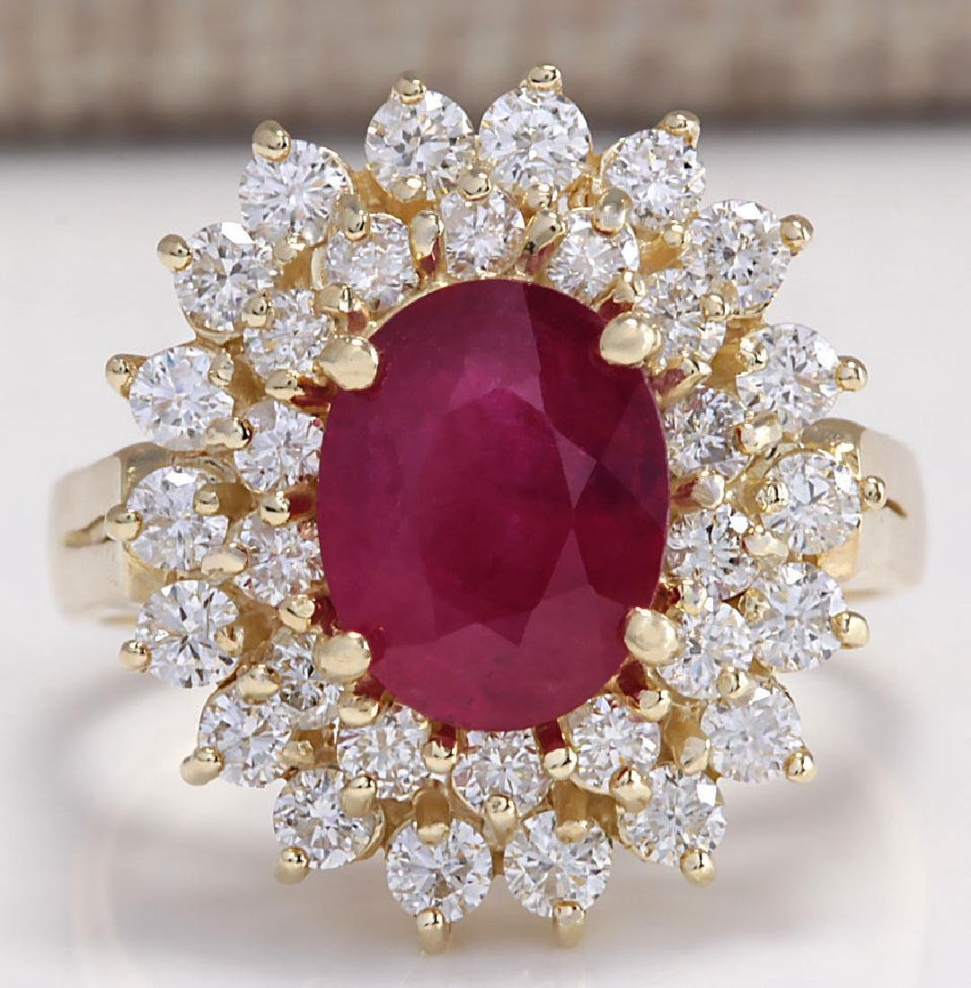 3.27CTW Natural Ruby And Diamond Ring 14K Solid Yellow