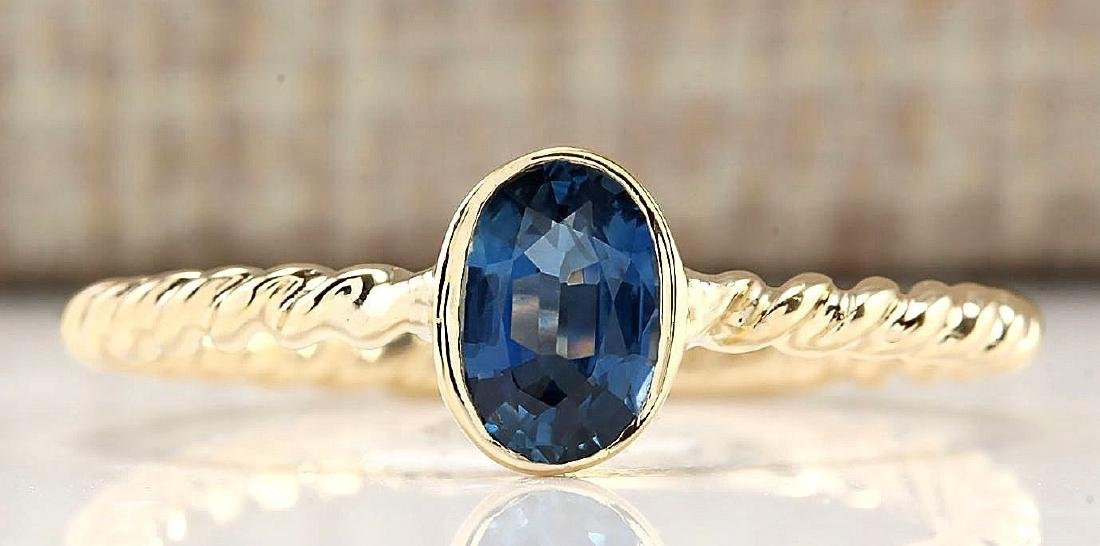 .70 CTW Natural Sapphire And Diamond Ring In 14k Yellow