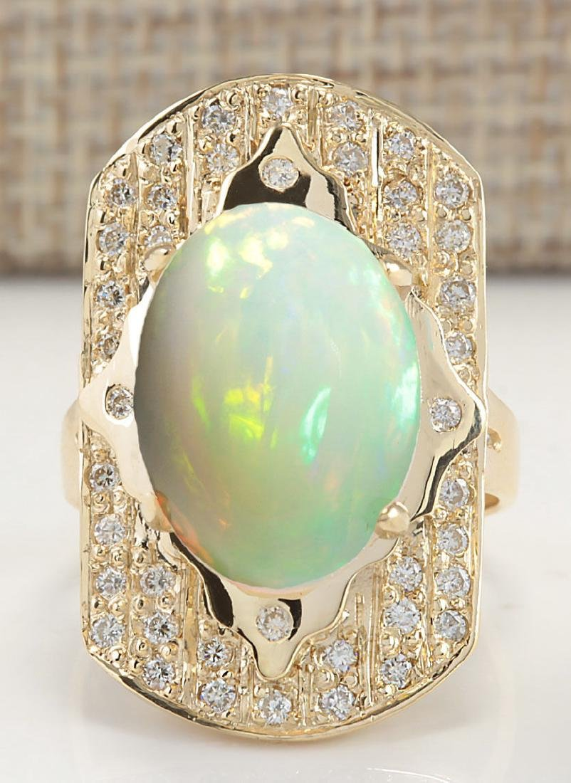 7.38CTW Natural Opal And Diamond Ring In 14K Yellow