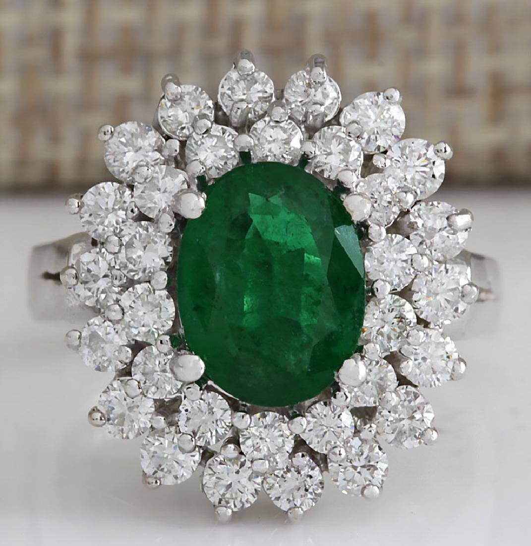 2.75CTW Natural Emerald And Diamond Ring 14K Solid