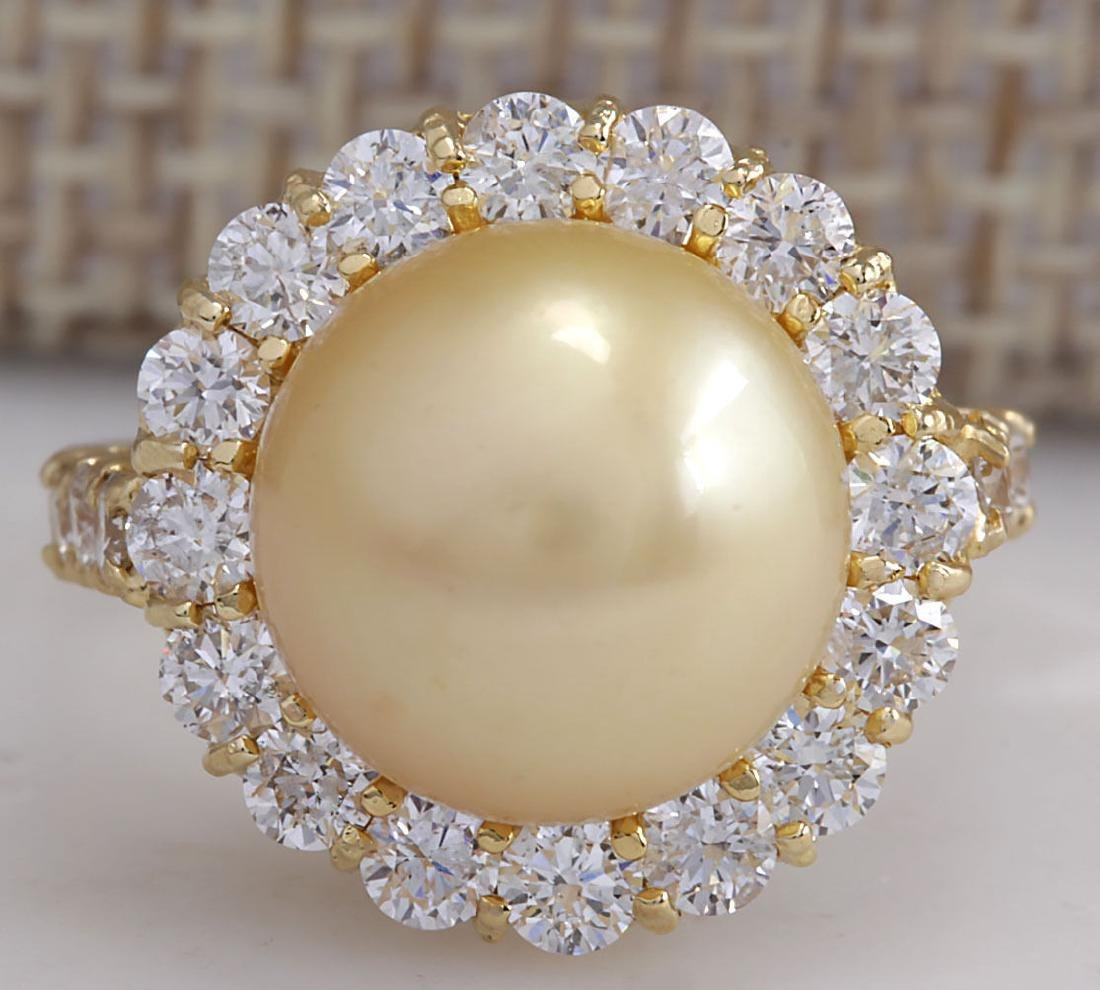 1.20CTW Natural 10.70Mm Gold South Sea Pearl Diamond
