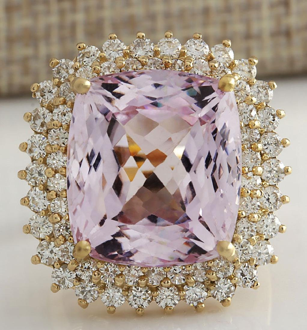 21.94CTW Natural Kunzite And Diamond Ring 14K Solid