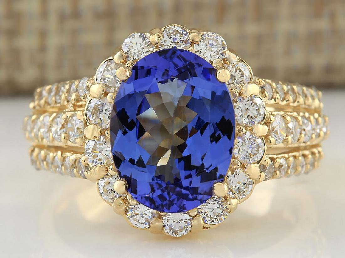 4.60 CTW Natural Tanzanite And Diamond Ring In 14k