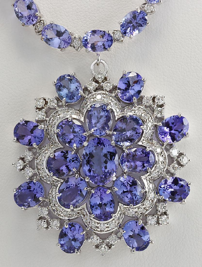 68.84 CTW Natural Tanzanite And Diamond Necklace In 14k