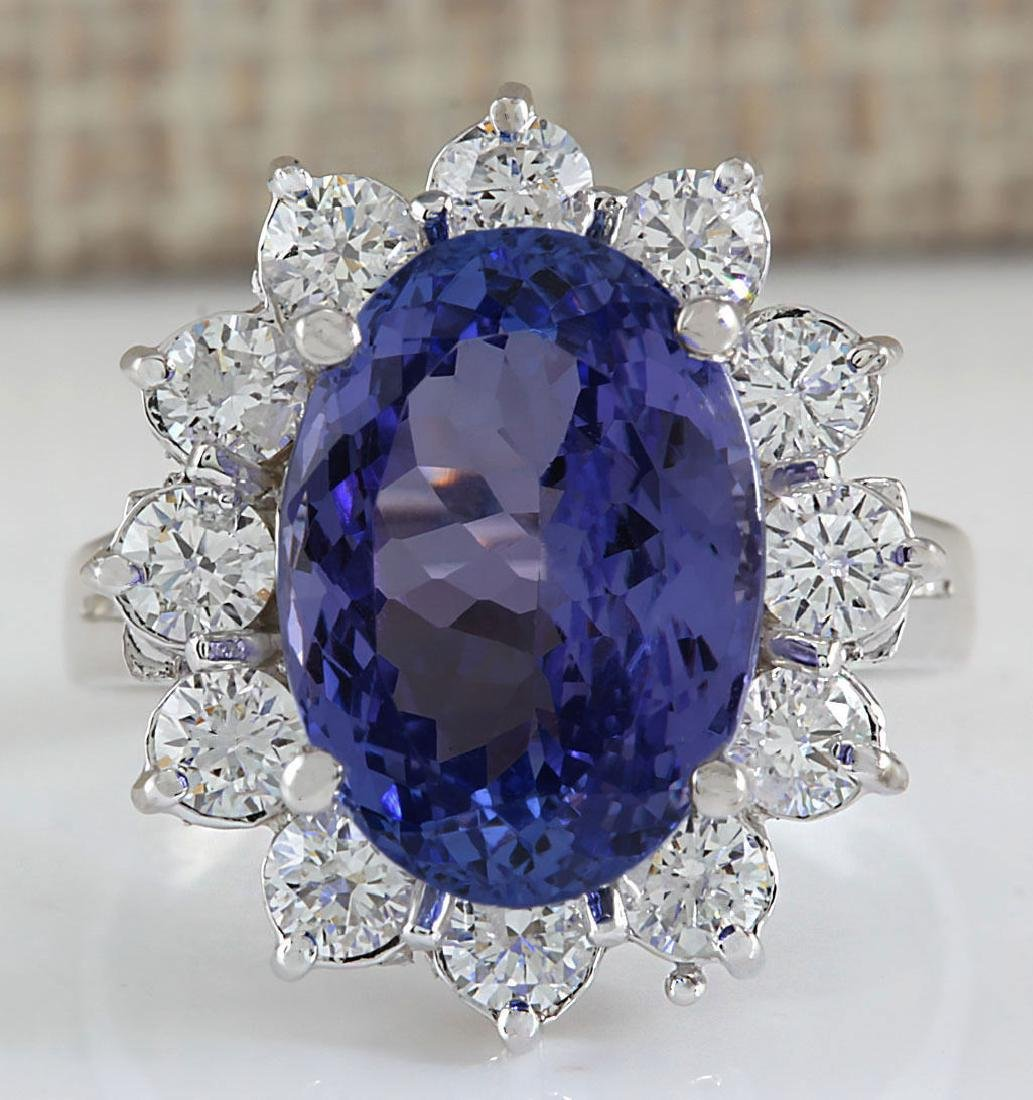 7.03CTW Natural Blue Tanzanite And Diamond Ring In 14K