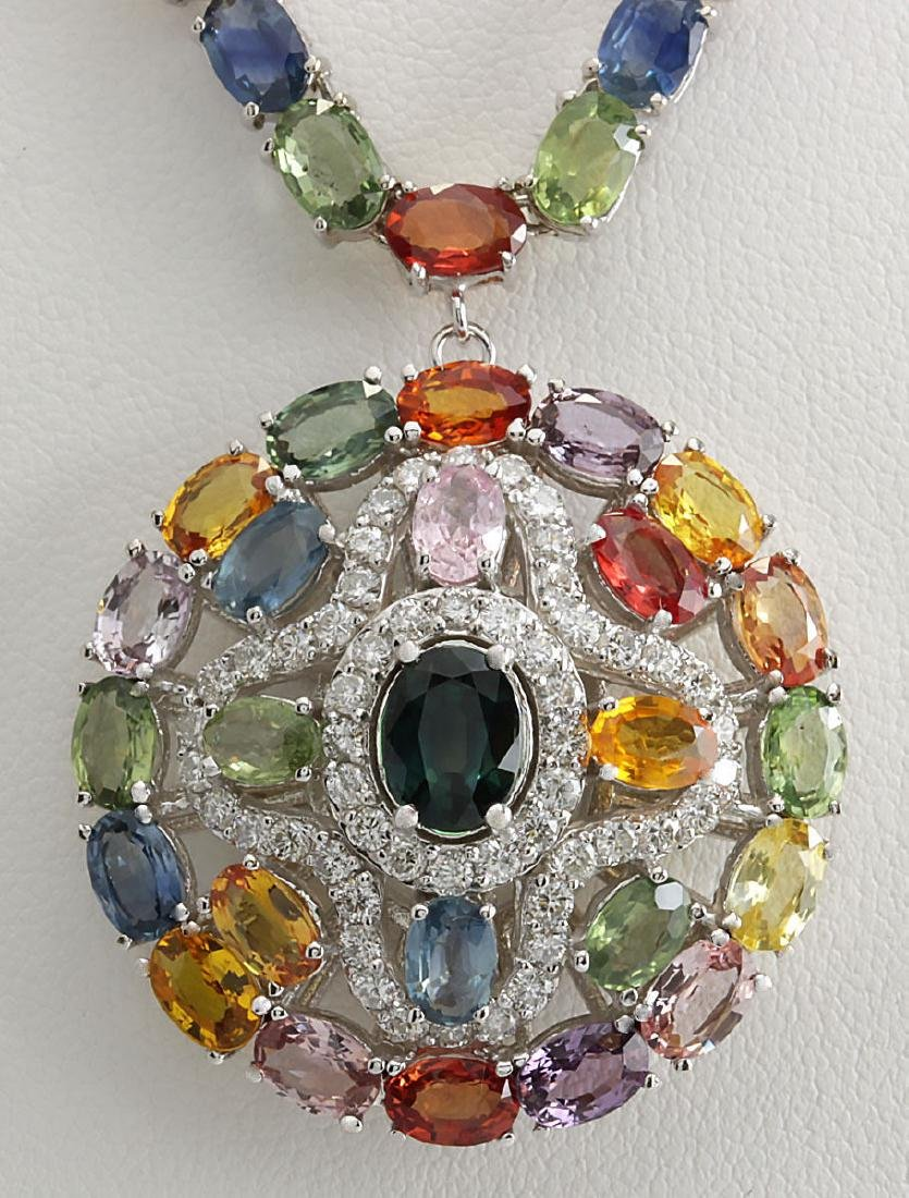 54.53CTW Natural Ceylon Sapphire And Diamond Necklace