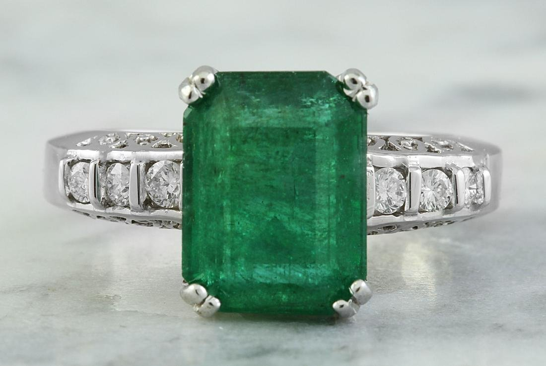 3.72 Carat Emerald 14K White Gold Diamond Ring