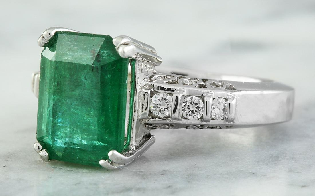 3.72 Carat Emerald 14K White Gold Diamond Ring - 2