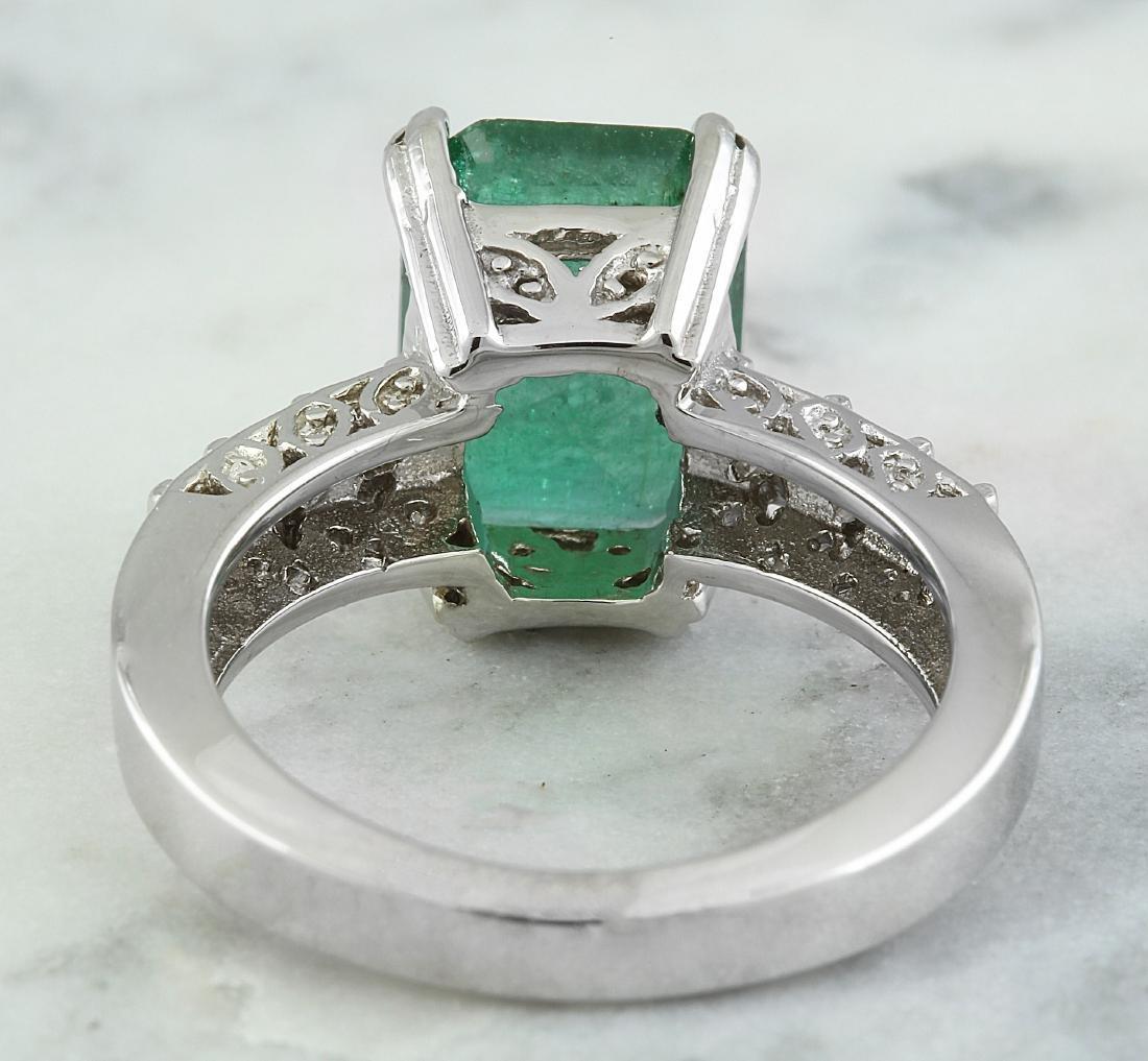 3.72 Carat Emerald 14K White Gold Diamond Ring - 3