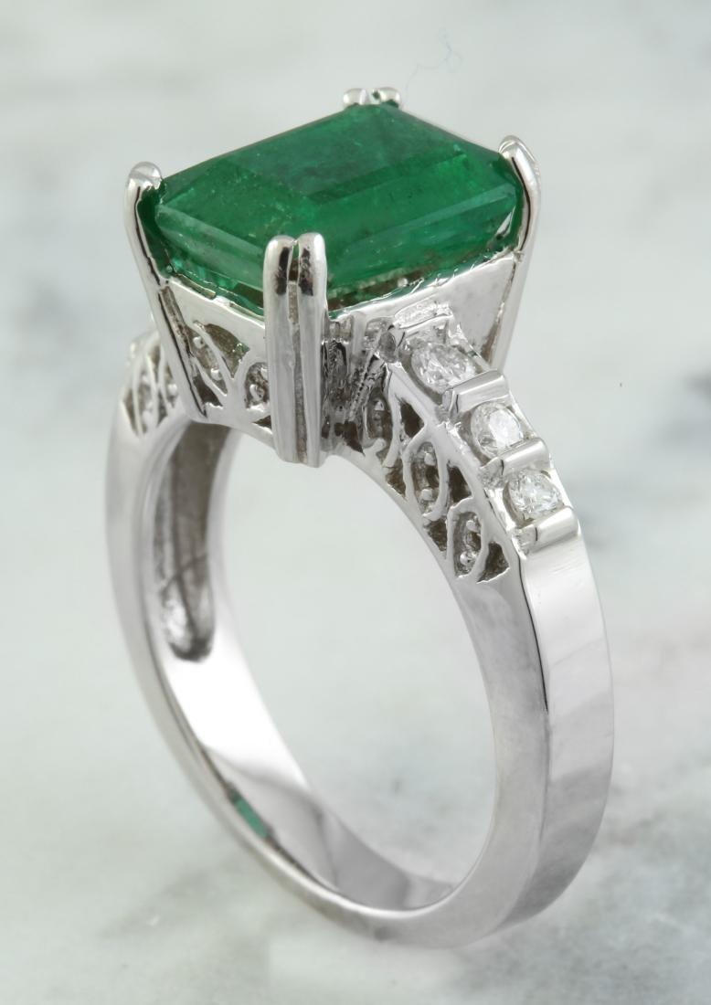 3.72 Carat Emerald 14K White Gold Diamond Ring - 4