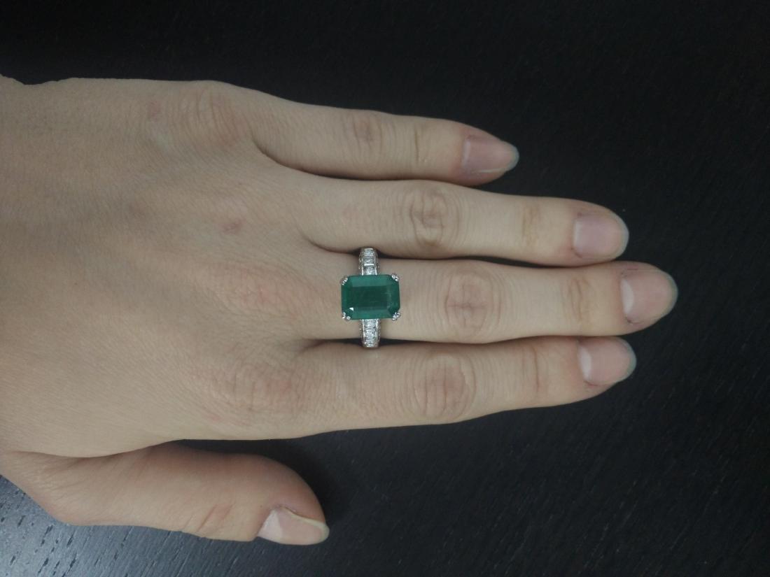 3.72 Carat Emerald 14K White Gold Diamond Ring - 5
