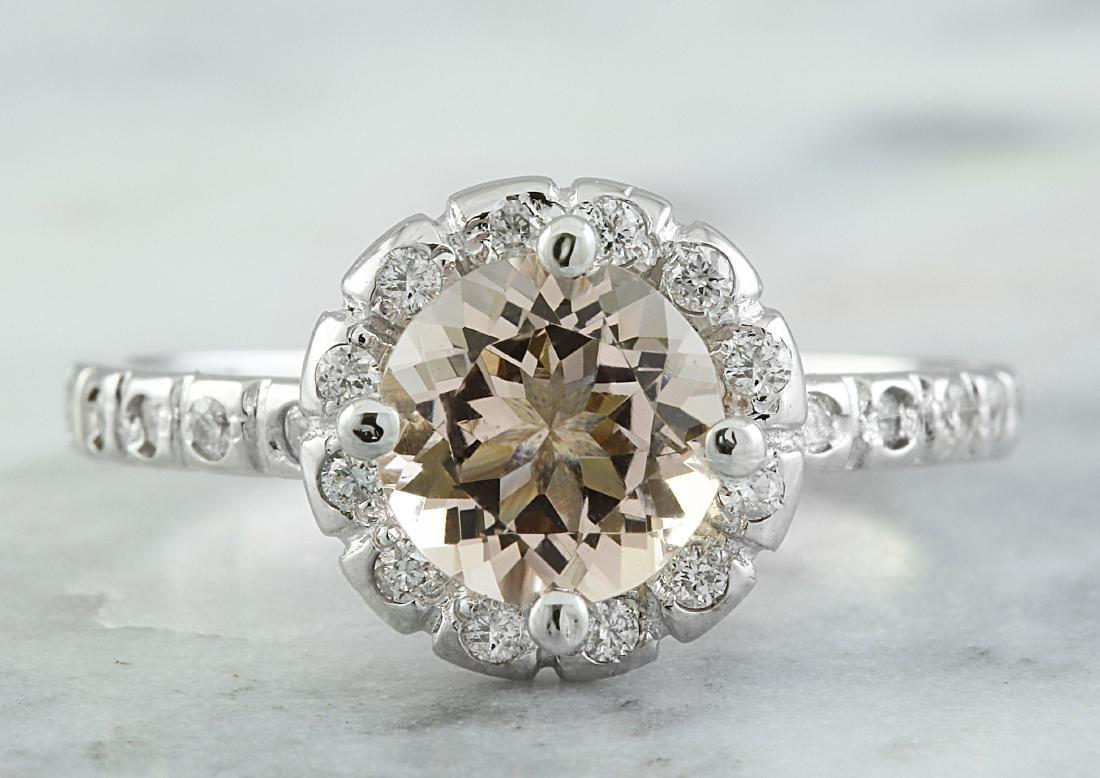 1.34 Carat Morganite 14K White Gold Diamond Ring